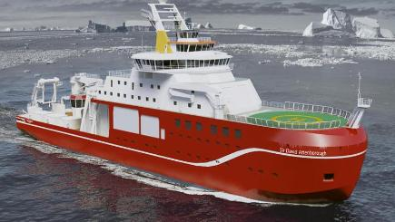Artist's impression of the new state-of-the-art polar research ship to be named RRS Sir David Attenborough (NERC/PA)