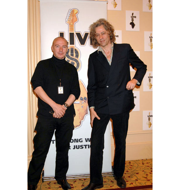 Midge Ure and Bob Geldof at the Live 8 launch event in May 2005
