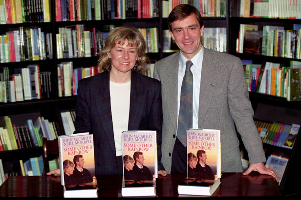 Jill Morrell and John McCarthy with their book, Some Other Rainbow.