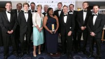 Winner Nicole Agba, centre, at the 2014 Autocar-Courland Award ceremony