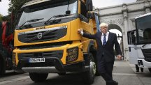 Mayor of London Boris Johnson attends the launch of Britain's first safer lorry scheme at Marble Arch in London