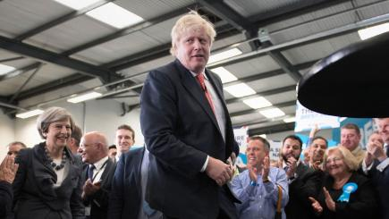 Boris Johnson makes quick exit after count as Theresa May leadership questioned