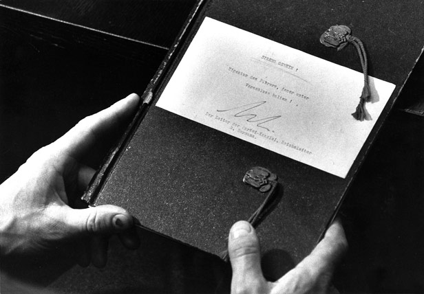 One of the diaries, with a note by Martin Bormann declaring it to be the personal property of the Fuehrer.