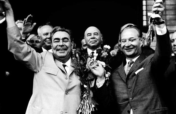 Soviet leader Leonid Brezhnev (left) with Alexander Dubcek (right).