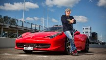 Brian Johnson of AC/DC poses with his Lamborghini 458 Italia at Goodwood Motor Circuit (Cars That Rock)