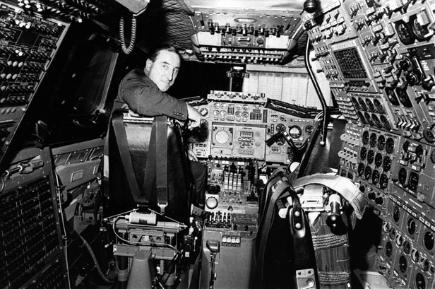 Brian Trubshaw, chief Concorde test pilot, at the controls of the aircraft