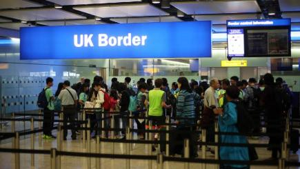 Figures from the Office for National Statistics showed net long-term migration to the UK reached a record 330,000 in the year to March