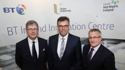T Howard Watson Alastair Hamilton, CEO of Invest NI, and Ulster University Vice-Chancellor, Professor Paddy Nixon