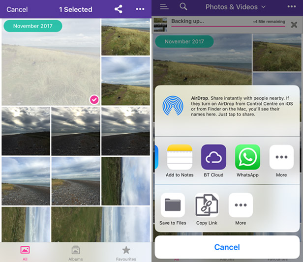 Sharing photos within BT Cloud app