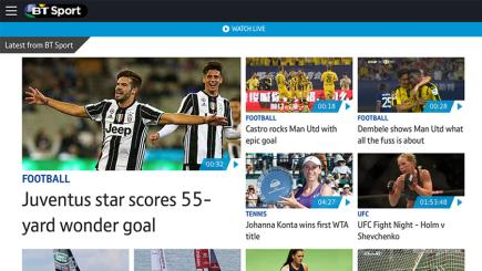 Check out BT Sport's new-look app