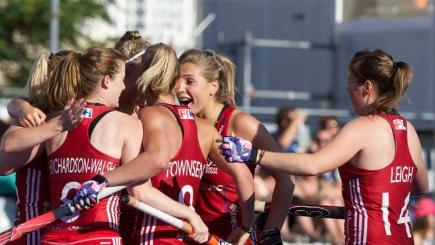 England women's hockey team celebrate