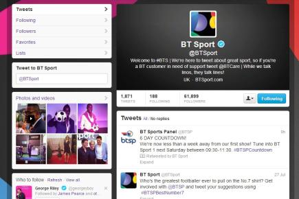 BT Sport Twitter account