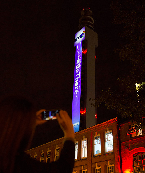 BT Tower Birmingham lights up for new BT ad campaign