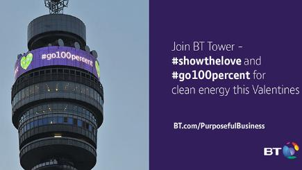 BT Tower is backing the Show The Love and Go 100 Per Cent campaign