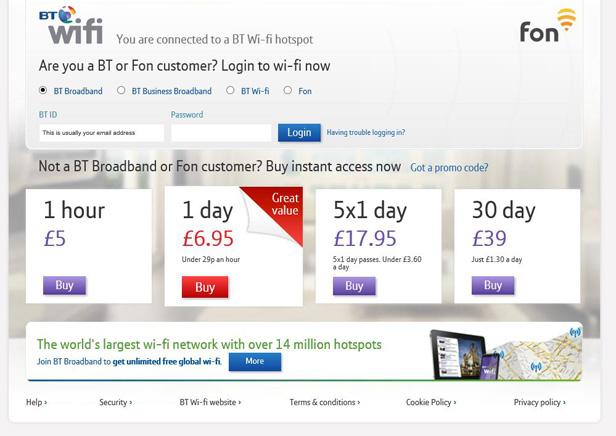 BT Wifi landing page
