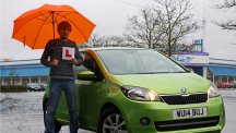 BT's Matt Kimberley prior to undergoing the Advanced Driving Test in his wife's Skoda.