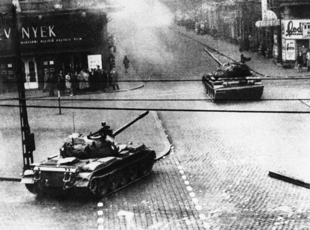 Russian tanks enter Budapest to quell the Hungarian uprising in October 1956.