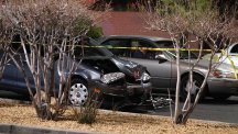 A damaged car at the scene of a fatal road rage incident in Las Vegas (Las Vegas Review-Journal/AP)