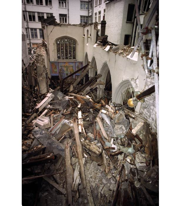 St Ethelburga's Church, built in the 15th century, was badly damaged by the bomb.