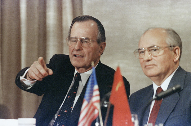 George Bush and Mikhail Gorbachev at their news conference