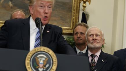 Buzz Aldrin looks completely baffled during Donald Trump's speech on space
