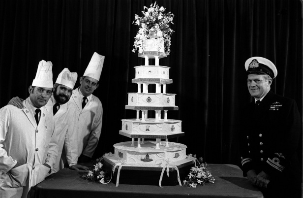 The official wedding cake, made by the Royal Navy Cookery School.