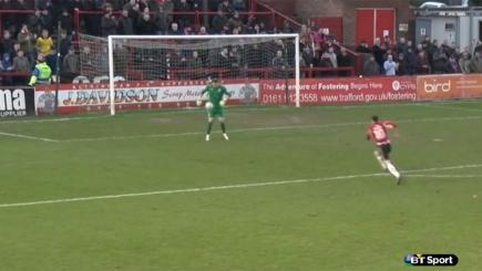 Screengrab of Lincoln City keeper Paul Farnham ball-juggling.