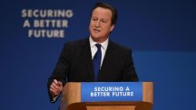 Prime Minister David Cameron during his keynote speech to delegates at the Conservative Party annual conference