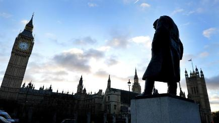 Sir Winston Churchill's statue is one of the 11 men featured in displays at Parliament Square