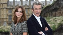 Doctor Who stars Peter Capaldi and Jenna Coleman during a photocall at Parliament Square