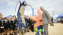 The Prince of Wales meeting a lobster and starfish on a beach