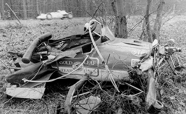 Jim Clark's car after it hit a tree at Hockenheim