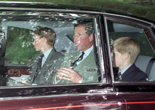 Princes William, Charles and Harry leave church on the morning of Diana's death.
