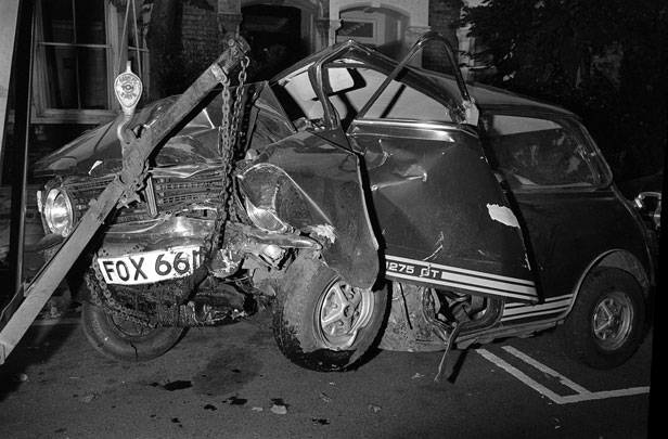 Bolan's Mini following the accident.