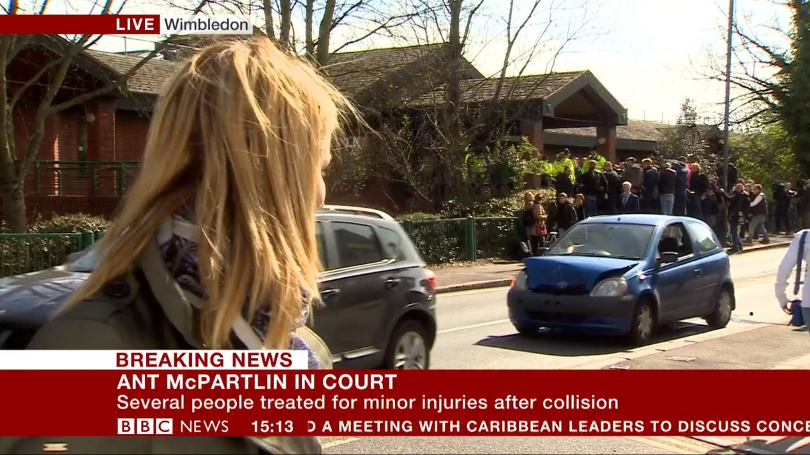 car crash outside ant mcpartlin court appearance for drink-driving   bt