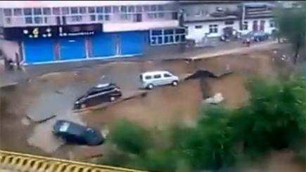 Cars crashing into river