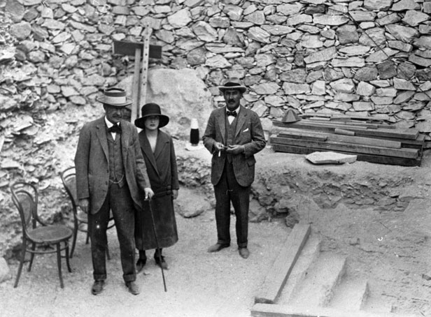 Lord Carnarvon, Lady Evelyn Herbert and Mr Howard Carter at the entrance to the tomb of Tutankhamen.