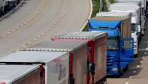 Lorries parked on the M20 in Harrietsham, Kent during Operation Stack.