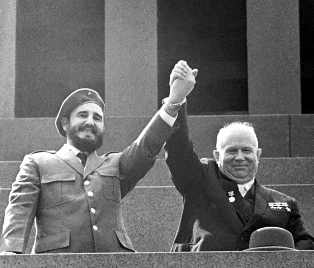 Cuban leader Fidel Castro and Soviet leader Nikita Khrushchev in Moscow in the summer of 1962.