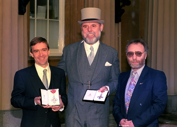 John McCarthy, Terry Waite and Brian Keenan receive their CBEs at Buckingham Palace.