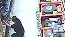 CCTV issued by Avon and Somerset Police of Nathan Matthews, who is accused of murdering Becky Watts, looking at circular power saws at a shop