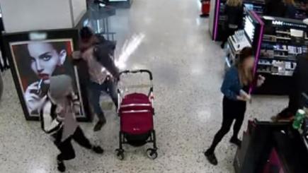 E-cigarette explodes in man's pocket near pram, dramatic CCTV footage shows