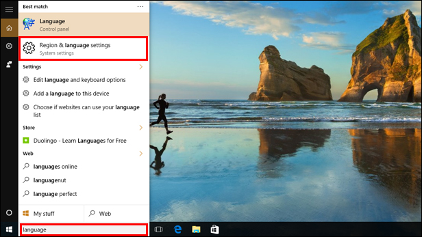 Changing the language settings on Windows 10