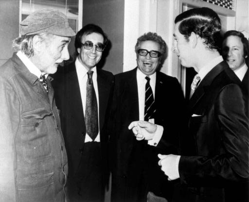 Milligan, Sellers and Bentine meet renowned Goons fan Prince Charles in 1974.