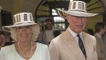 The Prince of Wales and Duchess of Cornwall don sombreros during a visit to the Museo del Oro (Gold Museum) in Cartagena on the fourth day of their tour to Colombia and Mexico (Arthur Edwards/The Sun/PA)