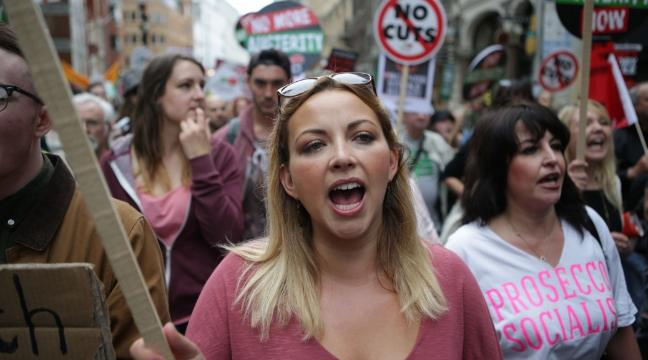 Charlotte Church and Russell Brand join protesters at End Austerity Now rally in London