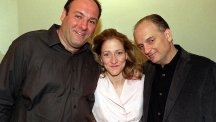 David Chase with the late James Gandolfini and Edie Falco who played his on-screen wife in The Sopranos