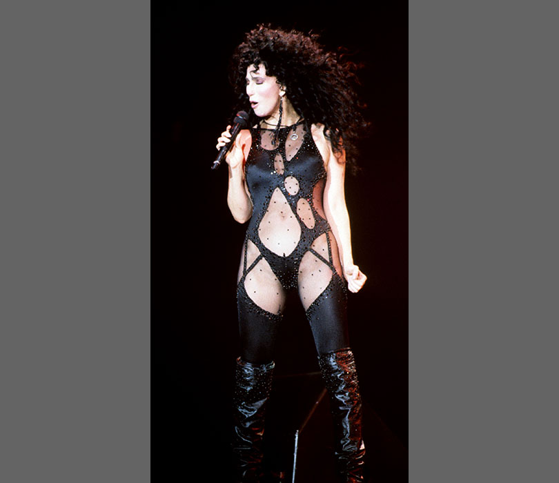 Cher practically bares all in her now classic bodysuit in 1989.