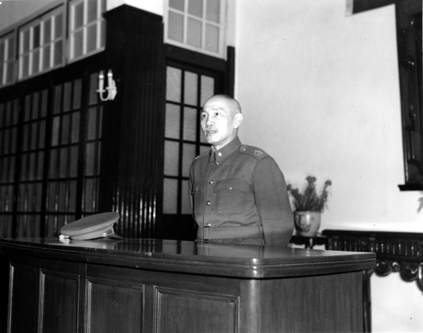 Nationalist President of China Chiang Kai-shek delivers what would be his last New Year's Day message to the government in his office in Nanjing in 1949.