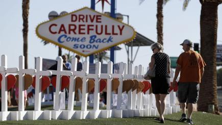 IL man installs 58 crosses to honor Las Vegas victims